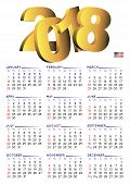 Постер, плакат: 2018 Calendar English Vertical Usa