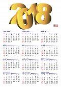 2018 Calendar English Vertical Usa poster