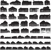 Real estate concept, houses and suburban silhouettes