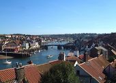 pic of u-boat  - A general view of Whitby Town and Harbour viewed from the north side of Whitby Harbour in North Yorkshire in England in the U.K. 