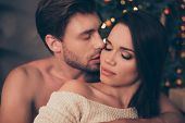 Closeup Of Brunet Partner With Bristle Hold His Brunette From Back, Cute Feelings, Horny Hot Naughty poster