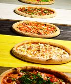 Different Pizzas Set For Menu. Pizza Circles With Meat, Mushrooms, poster