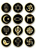 A set of stickers - Religious symbols. Gold isolated on black. Also available in vector format.