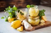 Homemade Lemon, Ginger And Mint Jam. Natural Medicine, Healthy Food Top View poster