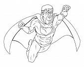 Ilustração de super-herói monocromático