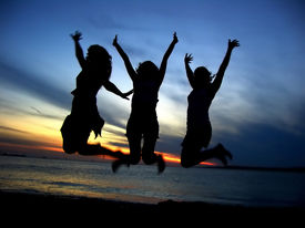 foto of beach party  - three girl friends celebrating youth - JPG
