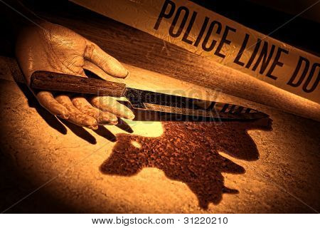 Crime Scene Bloody Knife