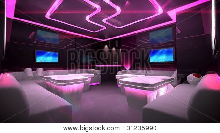 picture or photo of the nightclub interior design with the cyber style