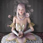 Surreal Portrait Of A Young Ballerina With Roses - 3d Illustration poster
