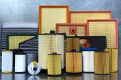 Auto parts accessories: oil filter, air filter, fuel filter, cabin filter, spark plugs and engine oi poster