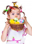 Lovely surprised Easter kid hiding