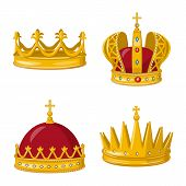 Vector Illustration Of Monarchy And Gold Sign. Collection Of Monarchy And Heraldic Stock Symbol For  poster
