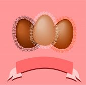 Easter eggs with lace frames