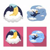 Vector Illustration Of Dreams And Night Icon. Collection Of Dreams And Bedroom Stock Symbol For Web. poster