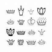 Crowns. Tiara. Diadem. Sketch Crown. Hand Drawn Queen Tiara, King Crown. Royal Imperial Coronation S poster