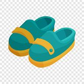 Pair Of Blue Moccasins Icon. Cartoon Illustration Of Pair Of Moccasins Vector Icon For Web poster