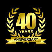 40 Years Anniversary Celebration Logotype. Golden Anniversary Emblem With Ribbon. Design For Booklet poster