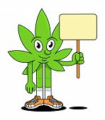 Happy Cute Smile Green Leaf Of Medical Smoke Cannabis Marijuana Weed Holding Empty Banners And Placa poster