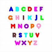 Vector Of Stylized Colorful Font And Alphabet. Colorful Alphabet Abc Alphabetic Writing Creative Col poster