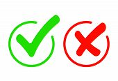 Check Mark Icon Set. Gree Tick And Cross Flat Simbol. Check Ok, Yes Or No, X Marks For Vote, Decisio poster