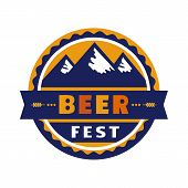 Beer Fest Hand Drawn Flat Color Vector Icon. Beer Festival, Mountains Silhouette Fun Sticker Design  poster