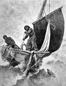 Man overboard! Engraving by Hoffman from picture by Gaket. Published in magazine