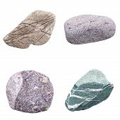 stock photo of ore lead  - set of four minerals on a white background - JPG