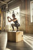 Challenging Myself. Side View Of Athletic Woman In Sportswear Doing Squat While Standing On Wooden B poster