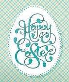 Vintage Easter card with calligraphic inscription and lacy paper eggs. Vector illustration.