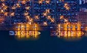 Aerial Top View Of Container Cargo Ship In The Export And Import Business And Logistics Internationa poster