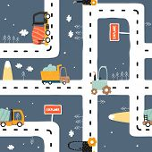Seamless Pattern With Road? Truck And Tractor. Cool Kids Print For Carpet Or Nursery Textile. Vector poster