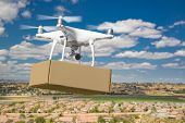 Unmanned Aircraft System (UAS) Quadcopter Drone Carrying Blank Package Over Neighborhood. poster