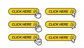 Click Here. Icon For Web Site. Set Of Clicking Forefingers And Mouse Cursors On Yellow Rectangular S poster