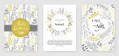 Gold Color Invitation With Floral Branches. Autumn Cards Templates For Save The Date, Wedding Invite poster