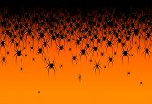 Halloween Theme Many Black Spiders On An Orange Background Header Creative Design Of Web Site Banner poster