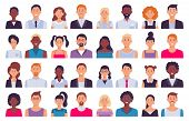 Adult People Avatars. Man In Business Suit, Corporate Woman Avatar And Professional Person. Face Ava poster