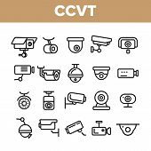 Surveillance Cameras, Cctv Linear Icons Set. Security System, Cctv Thin Line Illustrations Collectio poster