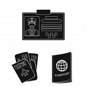 Bitmap Illustration Of Passport And Travel Sign. Set Of Passport And Paper Bitmap Icon For Stock. poster