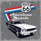 American Muscle Car Route 66 Vector Graphic Design poster