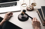 Judje Stuff On The Desk. Lawyer Concept. poster