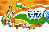 Illustration Of Mother India With Famous Indian Monument And Landmark For Happy Independence Day Of  poster