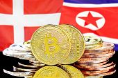 Concept For Investors In Cryptocurrency And Blockchain Technology In The Denmark And North Korea. Bi poster