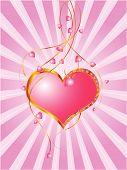 Vector Of Heart Floral In Pink Background