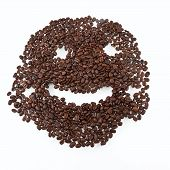 Coffee Grains Arranged In Smiley.