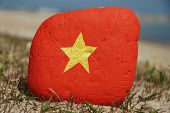 I love Vietnam, painted flag on a stone