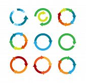 Multicolored Arrows In Circular Motion. Arrow Combinations. Rotation Arrows. Circle Arrow Icon. Recy poster
