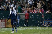 CARSON, CA - MAY 14: Sporting Kansas City F Kei Kamara #23 walks off the pitche after the MLS game b