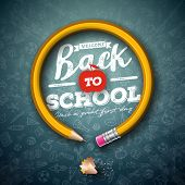 Back To School Design With Graphite Pencil And Typography Lettering On Black Chalkboard Background.  poster