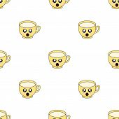 Seamless Pattern With Cup Emoticons On White Background. Kawaii Doodle Cups Character With Cute Anim poster