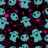 Abstract Seamless Halloween Pattern For Girls Or Boys. Creative Vector Pattern With Ghost, Cloud Boo poster